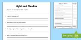 Light and Shadows Questions Activity Sheet