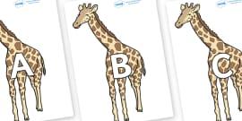 A-Z Alphabet on Giraffe