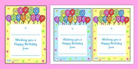 Note From Teacher Happy Birthday
