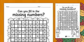 Thanksgiving Missing Numbers Number Square
