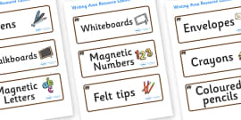 Bear Themed Editable Writing Area Resource Labels