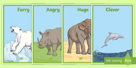 Zoo Animals Adjectives Display Posters