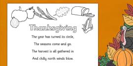 Thanksgiving Poem Colouring Sheet