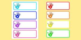 Handprint Drawer Peg Name Labels