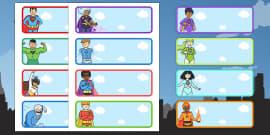 Editable Drawer - Peg - Name Labels (Superhero)
