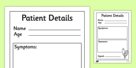 Doctor's Surgery Patient Details Template