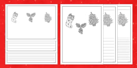 Christmas Themed Mindfulness Colouring Writing Frames