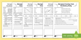 Traditional Aboriginal Hunting Tools Word Study Differentiated Activity Sheet