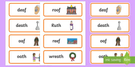 Word Final Voiceless 'th' and 'f' Minimal Pair Cards