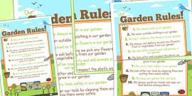 Large School Garden Rule Poster