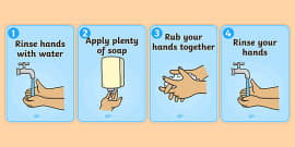 How to Wash Your Hands Display Posters