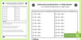 Adding Hundreds to a 3 Digit Number Worksheet Year 3 - adding