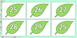 Numbers 0-31 on Spring Leaves
