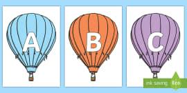A-Z Alphabet on Hot Air Balloons (Stripes)
