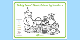 Teddy Bears' Picnic Colour By Numbers