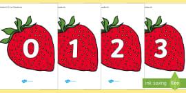 Numbers 0-31 on Strawberries