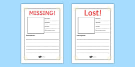Missing! Lost Pet Writing Frames