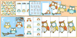 Cute Owl Themed Classroom Display and Stationery Pack