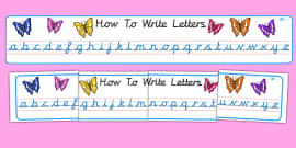 Cursive Alphabet Display Banner (Butterfly)