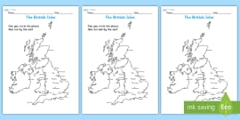 The British Isles Seaside Map Activity Sheet