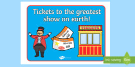 The Circus Ticket Booth Display Sign