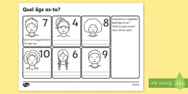 Say Your Age French Activity Sheet
