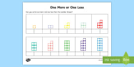 One More or One Less Number Shape Activity Sheets