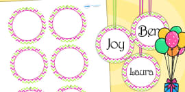 Zig Zag Birthday Party Name Tags Pink And Green