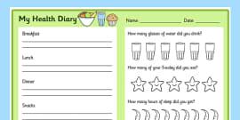 Healthy Living Diary Record Sheet