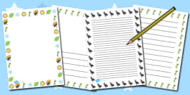 The Ant and the Grasshopper Writing Page Borders