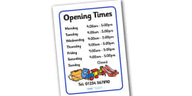 Charity Shops Opening Times Poster