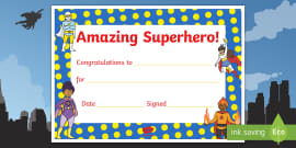 Superhero Themed Reward Certificate 15mm