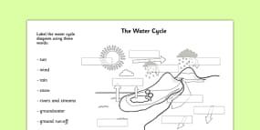 Water Cycle Cut and Stick Labelling Worksheet - the water cylce