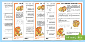 The Lion and the Mouse Differentiated Reading Comp...