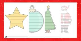 Christmas Editable Shape Poetry Writing Template