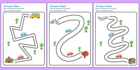 Transport Pencil Control Path Activity Sheets