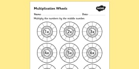 Multiplication Wheels Worksheet