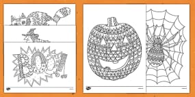 Halloween Themed Mindfulness Coloring Sheets