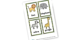 Safari Animals Vocabulary Cards - ESL Vocabulary Resources