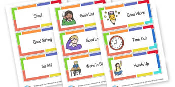 Behaviour Cards - Rules & Behaviour Primary Resources, golden time, routines, reward