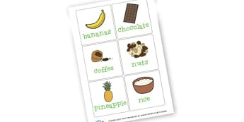 Fair Trade Food Word Cards - Food, Drink and Eating Classroom Signs and Labels Primary