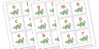 Dinosaur Lowercase Alphabet Cards - Dinosaurs Alphabet Primary Resources, phonics, letter, sounds