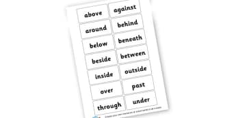 Preposition cards - display lettering - Words and Vocab Prepositions Primary Resources - Literacy Words a