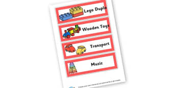 Toy Box Labels - Toys Signs Primary Resources, Group Signs, Classroom, Toys, Signs