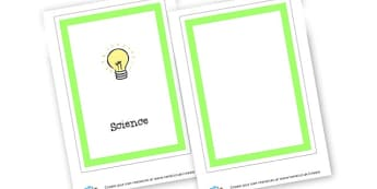 Science Book Cover - Science & Investigation Writing Frame Primary Resources, frame, borders, writing, template