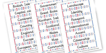 Geography Topic Cards - KS2 Vocabulary, Geography, Vocabulary, KS2 Geography