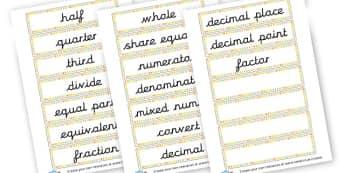 Fractions key words - KS2 Fractions, Percentages, Ratios, Visual Aids, KS2 Maths
