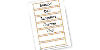 India Word Cards - India Literacy Primary Resources, asia, indian, hindu, sikh