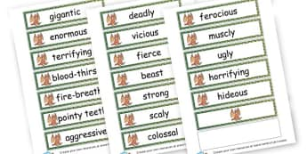 Dragon adjectives - Dragons Primary Resources - Fantasy, Dragon, Castles, dragon machine