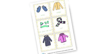Clothes Cards - Clothes Keywords Primary Resources, letters, phonics, sounds